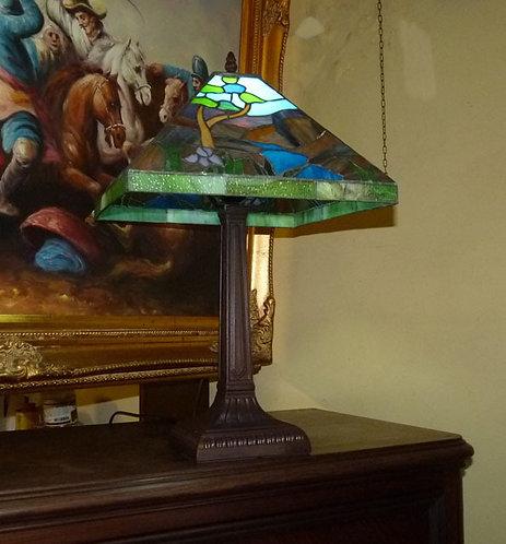 BB07 Lampada Tiffany Con Piede In Bronzo