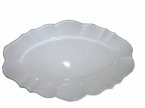 QQ16 Vassoio In Porcellana Bianca Operata