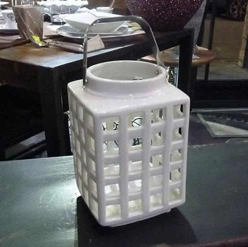 PT77 Lanterna Quadrata In Ceramica TraforataStile Shabby Chic