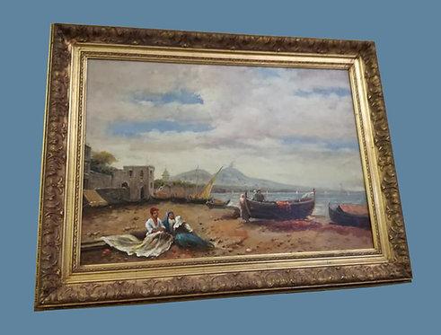 "N.04DB ""A riva"" dipinto ad olio su tela scuola napoletana '800"