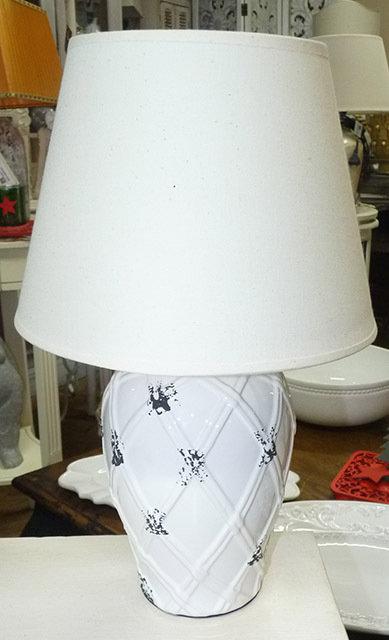 """PT167 Lampada In Ceramica Lavorata Bianca""""Ceramic Table Lampe"""""""