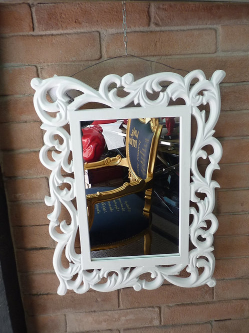 SL06a Specchio In Legno Bianco Operato Stile Shabby Chic