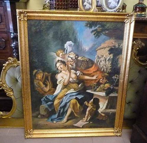 """N.21K Dipinto Olio Su Tela """"Scena Mitologica"""""""