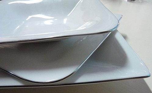 DA28 Servizio Da Tavola Modello Platinum Line Colore Bianco e Argento