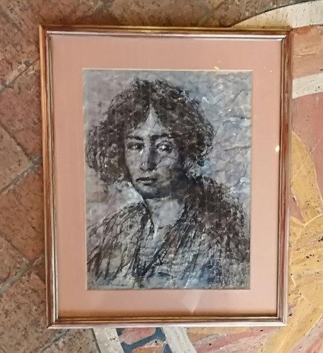 """N.81K """"Ritratto di donna"""" Carboncino su cartapecora"""