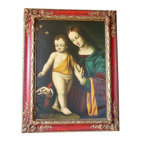 """N.51L  """"Maternità"""" dipinto ad olio su tela"""
