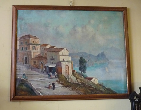 "N.09DA Dipinto Olio Su Tela ""Paesaggio Marino"""
