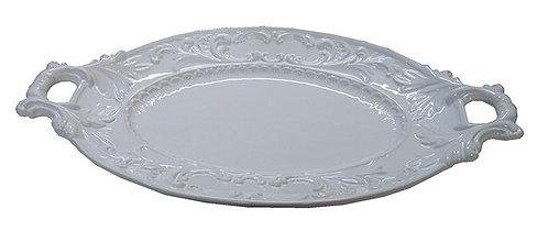 MT184 Vassoio ovale in ceramica bianca