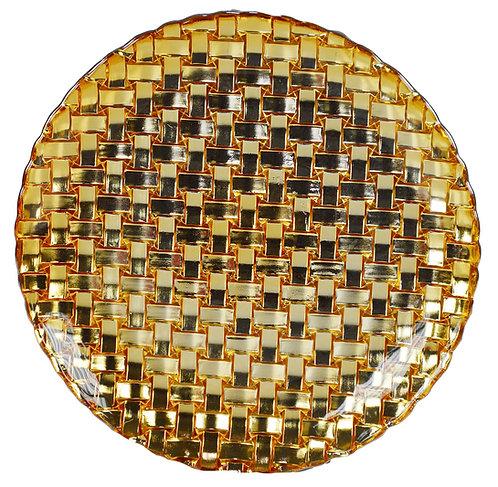 LG180 Sottopiatto  Vetro Oro