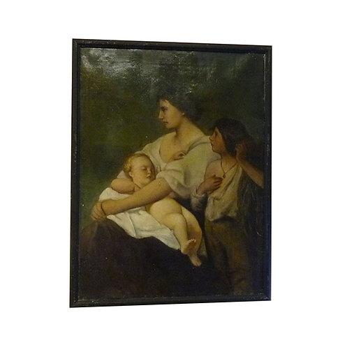 """N.16DA Dipinto Olio Su Tela """"Scena Familiare"""""""
