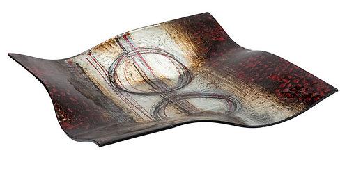 MT237 Piatto In Vetro Quadrato Decorato