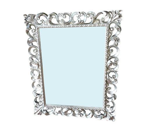 N.184b Specchiera barocca con cornice in foglia argento