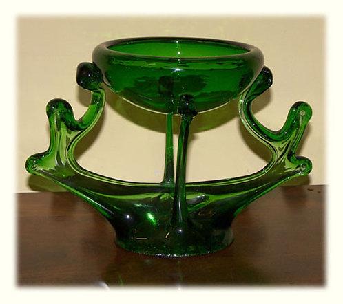 VT02b Centrotavola Decò In Vetro Verde