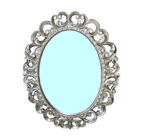 N.159a  Specchiera con cornice intagliata In Foglia Argento