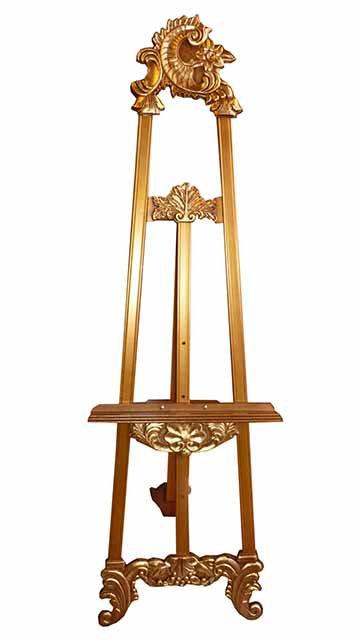 AB04 Cavalletto reggiquadro in legno a foglia oro