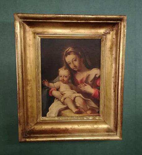 "N.12P ""Madonna con bambino"" olio su rame '800"