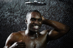 male model in the shower