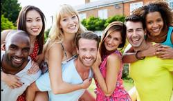 model friends smiling