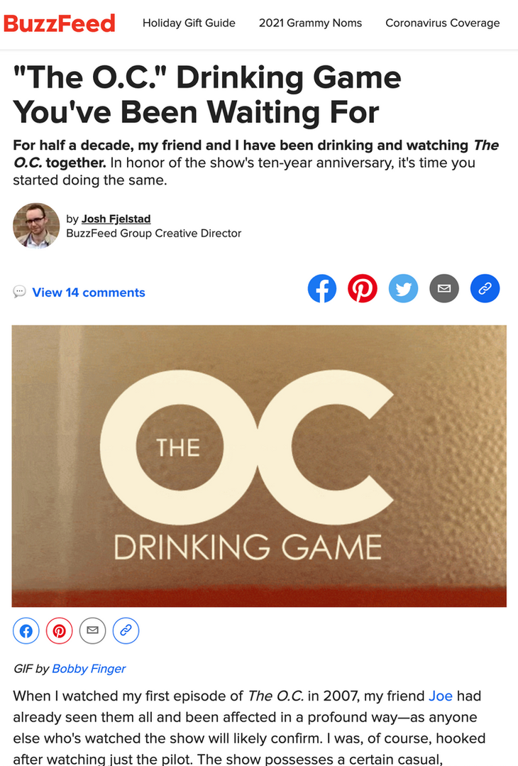 The O.C. Drinking Game