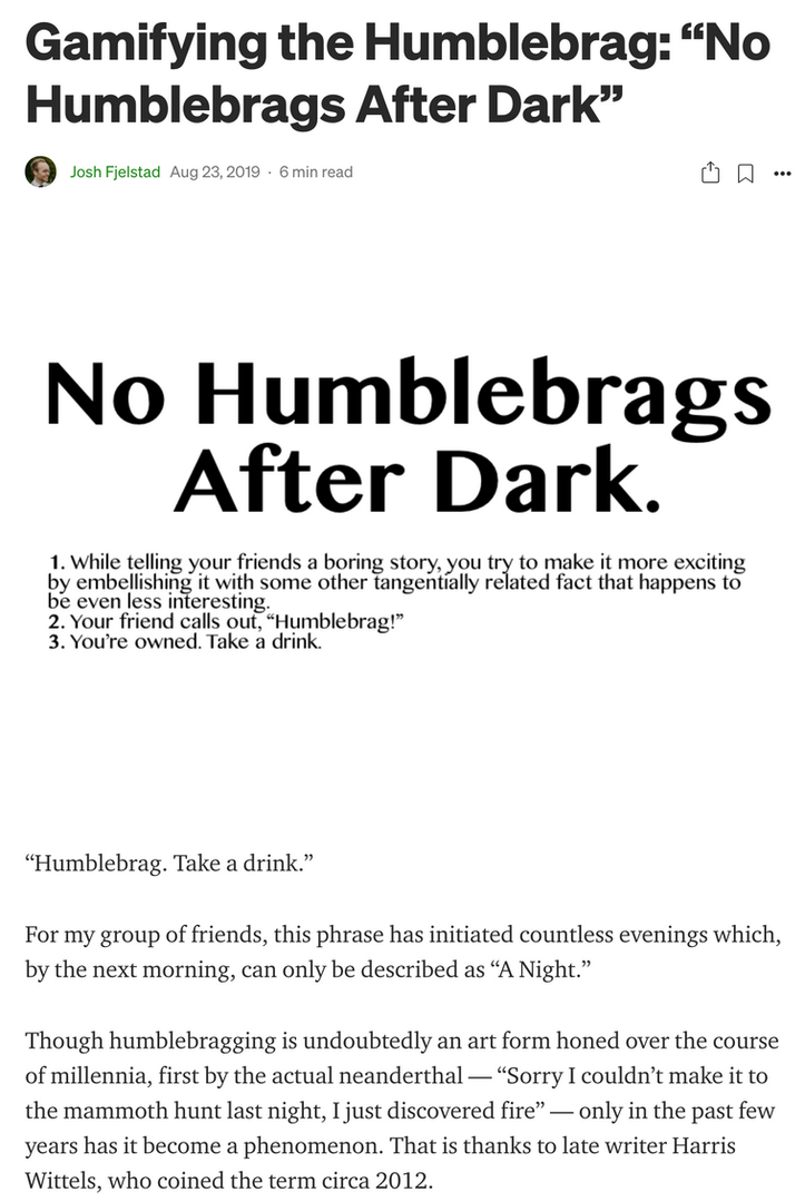 No Humblebrags After Dark