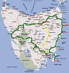 Hearty Tasmania Tour map