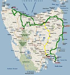Tasmania Bottom To Top tour map