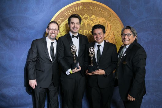 Zoltan Juhasz and Gerry Vazquez receive the Verna Fields Award for Student Sound Editing at the 2017 MPSE Golden Reel Awards alongside mentors Glenn T. Morgan and Mandell Winter.