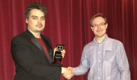 Zoltan receiving the Dolby Award for Best Sound