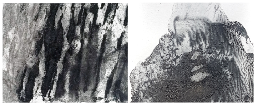 Example of dry pigment process reworked on right with wax