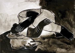 A black and white drawing of a man laying on his side, one hand covering is face. He is in a bleak,