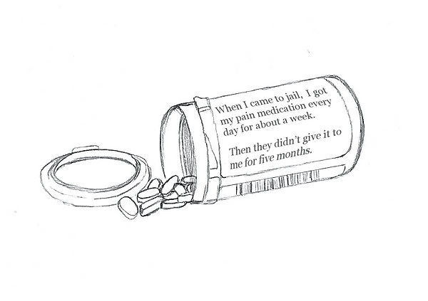 """A black line drawing of a prescription medication bottle lying on a white background.The bottle is open with small oblong pills spilling out and the lid beside it. The sticker on the bottle wraps around with a bar code showing and a typed quote where the prescription information would traditionally be. The text reads"""" When I came to jail, I got my pain medication every day for about a week. Then they didn't give it to me for five months."""""""