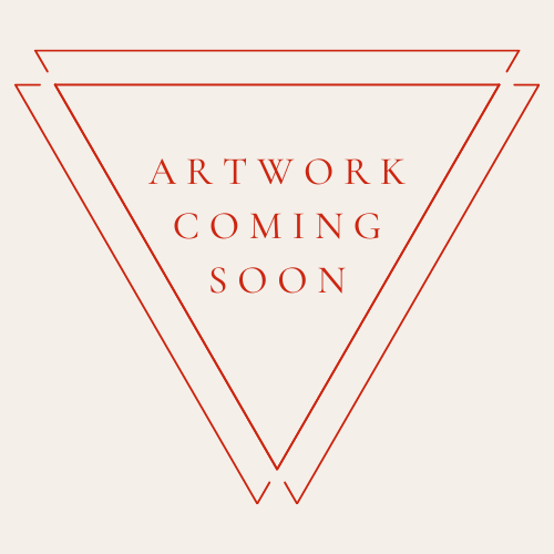 "Orange text reading ""artwork coming soon"" inside two overlapping triangles."