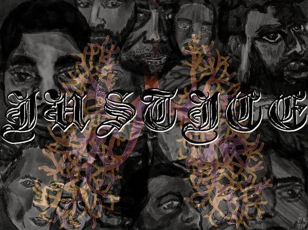 """The word """"JUSTICE"""" is superimposed over several overlapping watercolor faces in grayscale with serious facial expressions. Behind the word """"JUSTICE"""" is the shape of two lungs, created by interconnecting light orange and purple lines."""