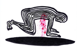 A black line drawing of a person on their hands and knees with bright red blood pouring from their c