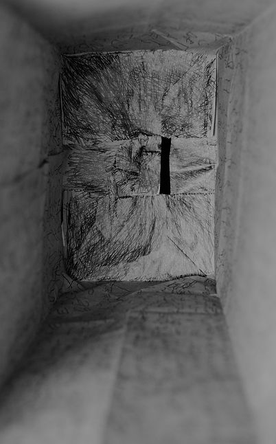 A digital photo of the inside of a paper bag covered in pencil scratchings and unreadable words.