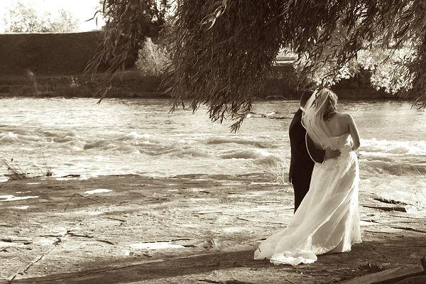 water rushing on a beautiful wedding day