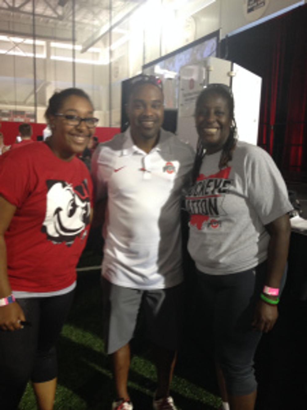 Jazmyn & I with OSU Buckeyes Running Back Coach, Stan Drayton, at the 2014 OSU Buckeyes Women's Football Clinic