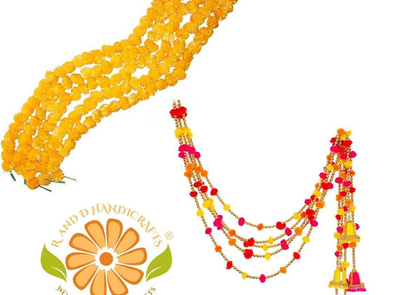 Marigold Life Orange Marigold Garland and Indian Pom Pom Garland with Bells