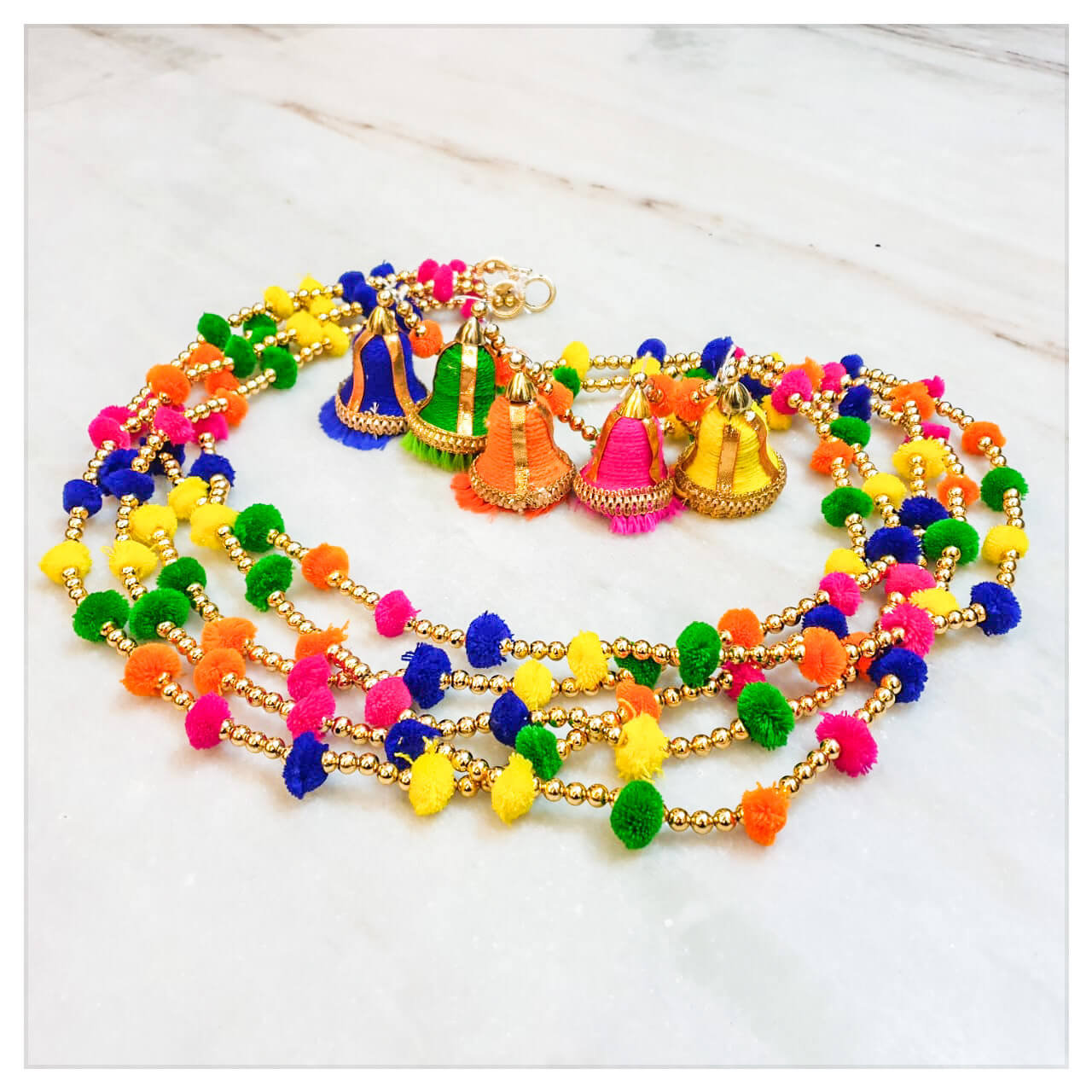 Traditional Rainbow Marigold Life Indian Bell Rainbow Boho Pom Pom Garland Marigold Life Shop