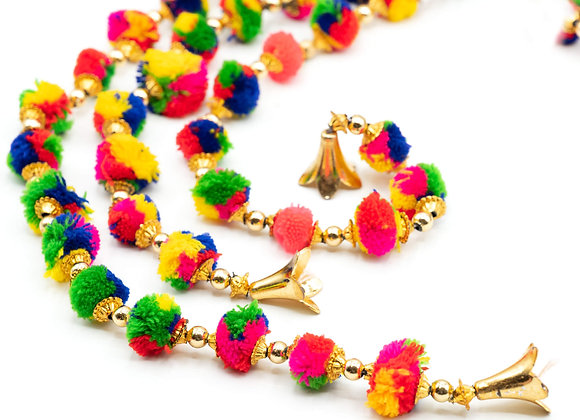 Marigold Life Gold Indian Tie Dye Bell Rainbow Boho pom pom garland