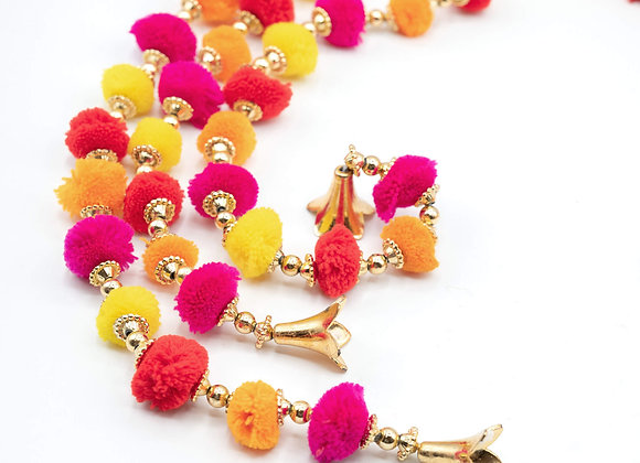 Marigold Life Gold Indian Bell Rainbow Boho pom pom garland