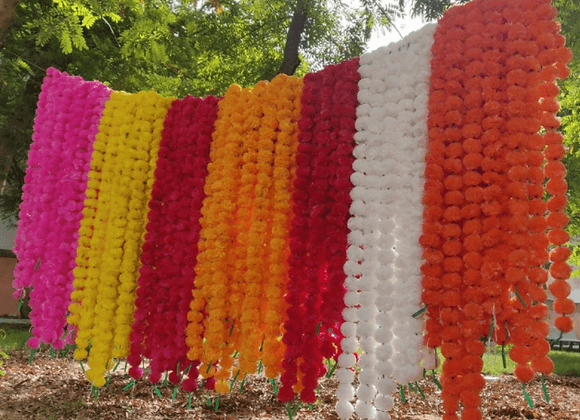 100 Strand Artificial Marigold Garland Extra Large Multi Color Pack