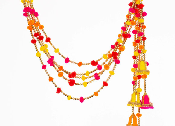 Marigold Life Indian Bell Rainbow Boho pom pom garland