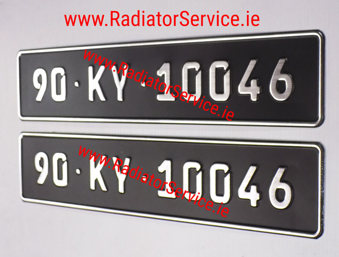 German Pressed Vintage Number Plates with the Small FE Font