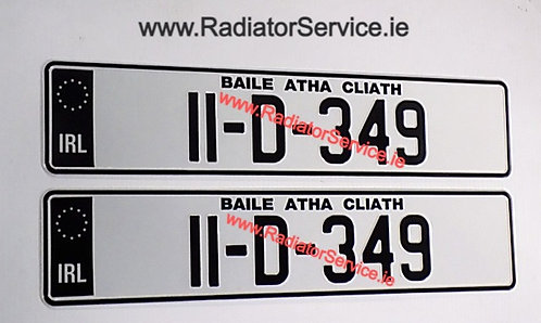 IRL Black Band SHOW Pressed Number Plates with Standard 70mm Font