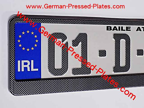 German Carbon Fibre Look Pressed Plates with Frames if required ( CB25 )