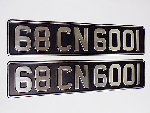 Pair of Vintage Brushed Chrome Pressed Plates