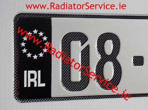 Pair of Black Flag IRL Carbon Fibre look German Pressed Plates