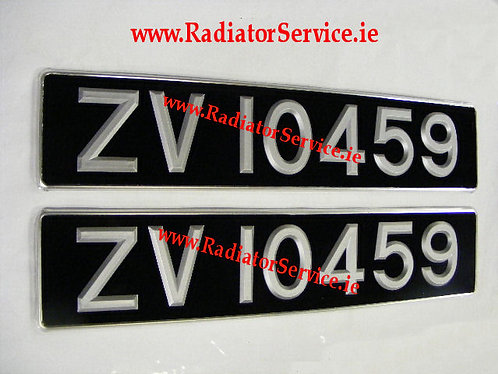 Plastic Silver Digit Black Enamelled Plates with Silver Trim