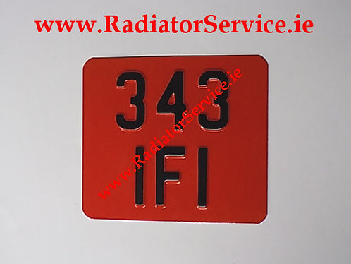 Motorcycle Red Pressed Plate 7 x 6ins